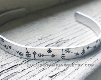 Arrows Cuff Bracelet - Follow Your Heart Bracelet - Arrow Bracelets - Inspirational Jewelry - Quote Jewelry - Path Jewelry