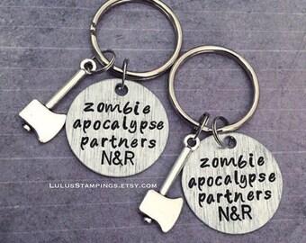 Apocalypse Partners Keychains - Best Friends Keyrings - Zombie Accessories - Zombie Apocalypse Accessories- Zombie Survival Kit