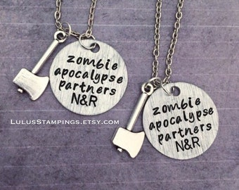 Apocalypse Partners Necklaces - Best Friends Jewelry - Zombie Jewelry - Zombie Apocalypse Jewelry - Zombie Survival Kit