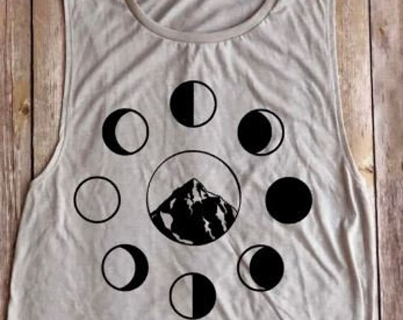 moon phases shirt|mountain shirt|muscle tank|tank top|moon goddess|moon|women's clothing|boho tank|women's tank|moon phases|workout tank