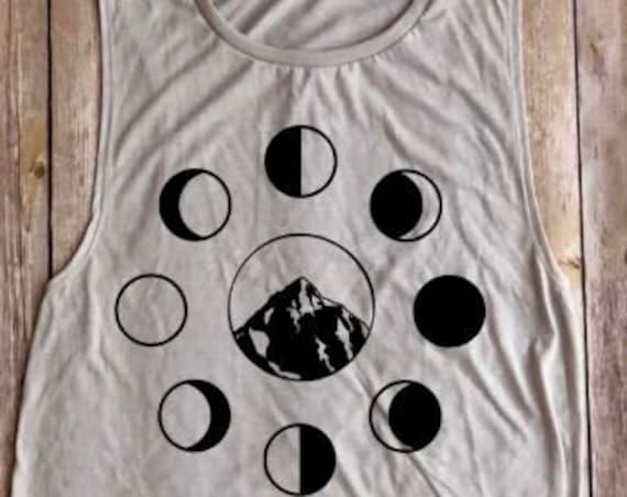 moon phases shirt|mountain shirt|muscle tank|tank top|moon goddess|moon|women's clothing|boho tank|women's tank|moon phases|workout tank