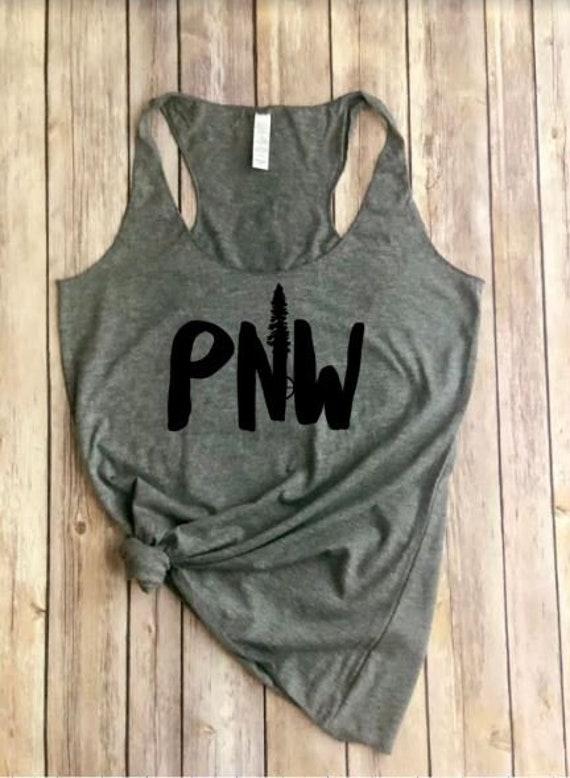 PNW Tank | Pac NW | Womens Shirt | Outdoors Tank | Roadtrip | Hiking Shirt | Evergreen Tree | Mountains | Womens Tank | Adventure Awaits