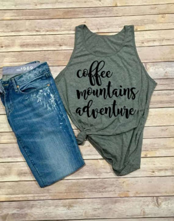 Coffee Mountains Adventure | Mountains Tank | Tank Top | Womens Clothing | Womens Shirt | Womens Tee | Womens Tank | Hiking Shirt | Camping