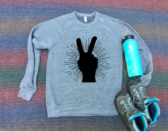 Peace Sign Sweatshirt | Peace Sign Shirt | Boho Shirt | Hipster Shirt | Hiking Sweatshirt | Camping | Travel Shirt | Roadtrip Shirt