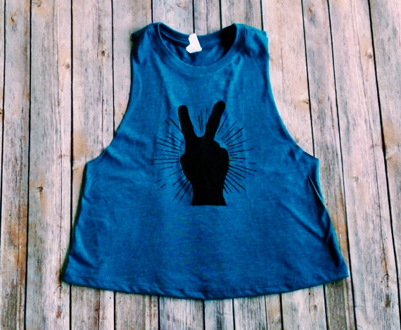 Peace Sign Shirt | Womens Tank | Crop Top | Hiking | Yoga | Boho Shirt | Bohemian Womens | Womens Shirt | Roadtrip Shirt | Yoga Crop Top