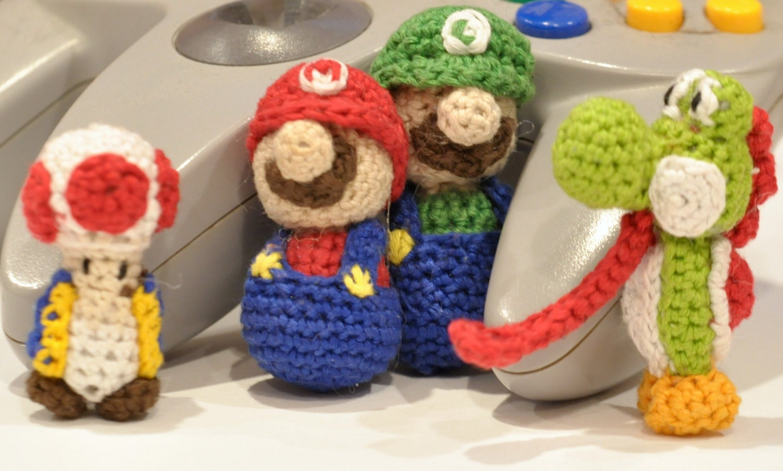 CROCHET PATTERN: Mario Luigi (movable heads) Yoshi Toad Miniature ...