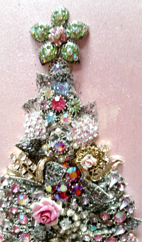 Jewelry Christmas Tree Framed Jewelry Christmas Tree Jeweled | Etsy