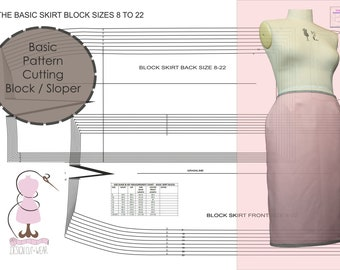 FULL CIRCLE /& HALF CIRCLE SKIRT SET SIZES 8 TO 22 SLOPER-FASHION PATTERN BLOCK