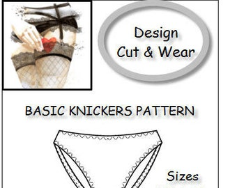 Basic Knickers, Pants, Briefs, Pattern Block. PDF Instant Download - Size Range 6 - 22 (UK) - Make your own Lingerie - Detailed Making Guide