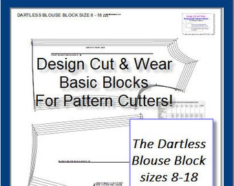 The Dartless Blouse Block, Ideal as a basic block for shirts and blouses! Basic Block For Pattern Cutters-Ideal For Small Fashion Business