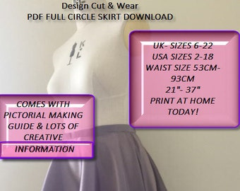Full Circle Skirt- Sizes 8 TO 22 uk- size 2-18 Usa - Waist Size 53 cm - 93 cm or 21 Inches to 37 Inches- PDF- print at home today- Sloper