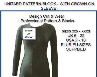 Unitard Pattern Block - In Sizes UK 8 to 22 - USA 4- 18 plus eu sizes supplied! Ideal for dancewear and costumes