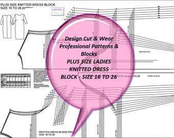 Plus Size Knitted Dress Block UK Size 16 to 26- US Size 12 to 22 - European Size 44'' to 54'' - Sloper - Make Your Own Patterns!