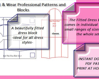 The Fitted Dress Block- Size 10 and 12 and 14 (UK) -6 and 8 and 10 US and 38,40 and 42 Eu- pdf instant download-Print At Home Today-