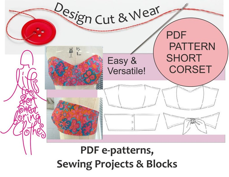 Bustier - Short Corset Bandeau Top Size XS to XL Sloper - Easy to make! PDF  Instant Download - Versatile Pattern Block- Sewing Project Guide