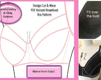 Basic Bra Pattern Block - With Detailed Sewing and Fitting Guide- PDF Instant Download- Cup Size AA- D - Ideal For small fashion business.
