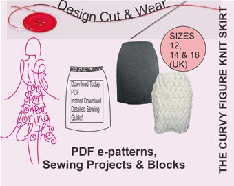 Knit / Stretch Skirt Pattern- Instant Download- suitable for beginner- Size12,14 & 16 (UK sizes) -Fully Illustrated sewing Instructions