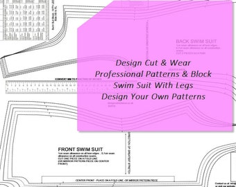 Swim Suit With Legs- Pattern Block- Stretch - Sizes XS TO XL Sloper - Ideal For Designers & Pattern Cutters- Make Your Own Patterns.