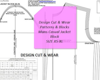 Mans Casual Loose Fitting Jacket Block- Size Xs to XL - EU, USA and Usa Size Equivalents Supplied- Make Your Own Patterns!