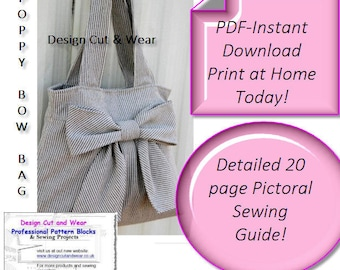 The Poppy Bow Bag Pattern- PDF Instant Download - Print At Home Today! - Make your own Designer Bag - Detailed Pictorial Making Guide -
