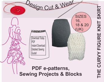 Knit / Stretch Skirt Pattern- Instant Download- suitable for beginner- Size16,18 & 20 (UK sizes) -Fully Illustrated sewing Instructions
