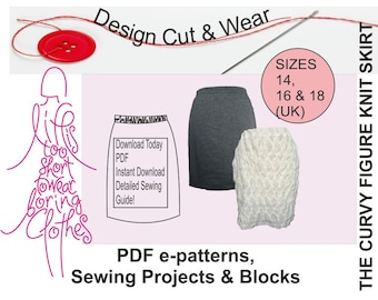 Knit / Stretch Skirt Pattern- Instant Download- suitable for beginner- Size 14,16 & 18 (UK sizes) -Fully Illustrated sewing Instructions