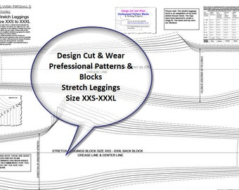 Stretch Knit Pants - Leggings-Tights Block- Professional Pattern Cutting Blocks - Size XXS-XXL Ideal for Pattern Cutters & Designers