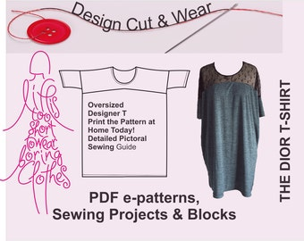 Oversized T-shirt Dress  Pattern- Instant Download- One Size - Oversized Fit -Fully Illustrated sewing Instructions- Designer Pattern!