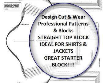 Straight Top - Shirt or Jacket- block- with casual sleeve- Size 6-20 - Ideal For A Starter Block- Great for Designers & Pattern Cutters!
