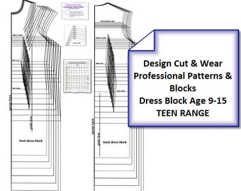 Teen Dress Block and Straight and Fitted Sleeve Blocks-AGE-9-TO-15-Height-134cm-170cm - Ideal For Designers and Pattern Cutters.