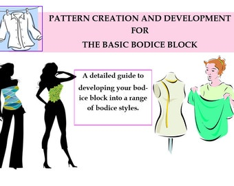 Learn To Be a Pattern Cutter- Bodice Pattern Cutting Tutorials, Quarter and Half scale practice blocks! PDF DOWNLOAD TODAY! Start Learning