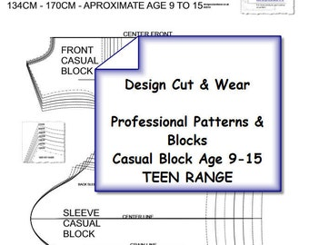 Children And Young Teenage  T-Shirt & Sleeve Blocks Age 9 TO 15-Height 134cm-170cm - Professional Sloper Blocks