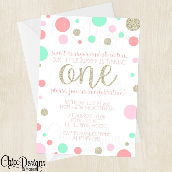 Gold pink and mint polka dots first birthday invitation etsy image 0 filmwisefo
