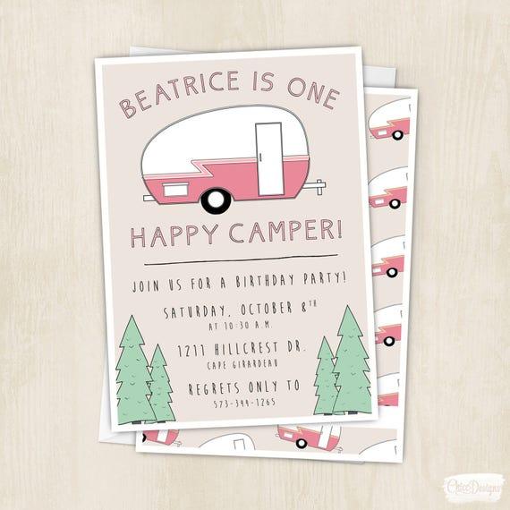 One Happy Camper Birthday Invitation Camping Pink