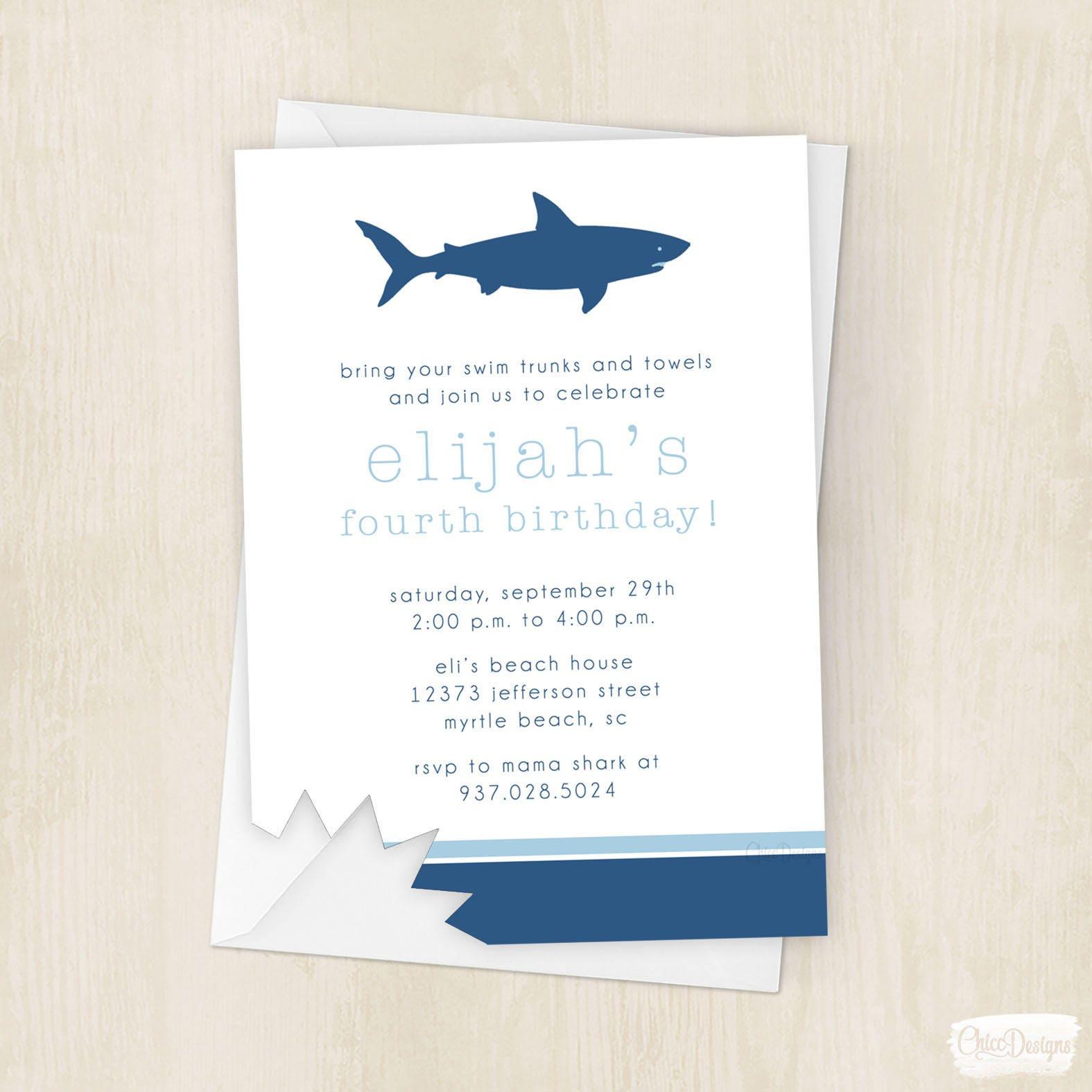 Shark Attack Birthday Invite Mega Shark Megalodon Bite | Etsy