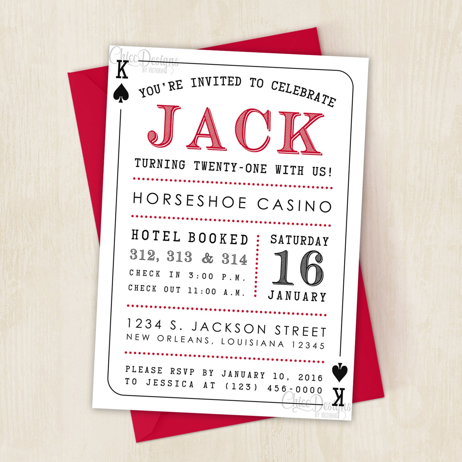 Casino Party Invitation Deck of Cards King & Queen | Etsy
