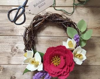 Spring felt flower wreath - handmade peonies and daffodils