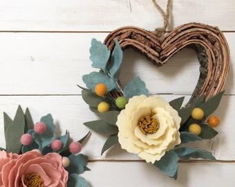 Heart wreath with felt flowers - birch bark wreat - handmade flowers