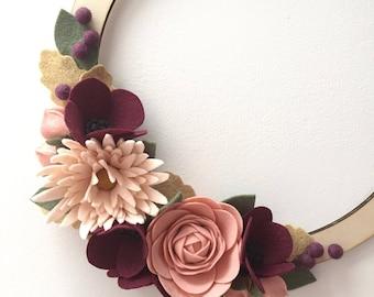 Autumn pinks felt flower wreath