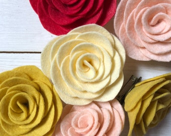Felt flower brooch - rose - teacher gift
