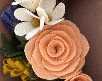 Scottish felt flower wreath - thistles, daisies, mustard gorse