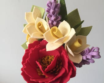 Spring felt flower gift bouquet - peonies, daffidils, lavender - Mothers Day