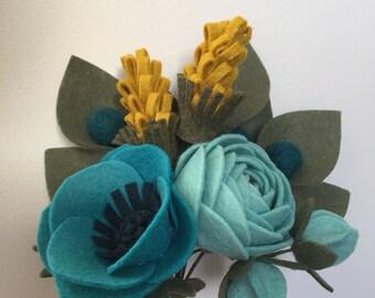 Felt flower gift bouquet - mustard and teal