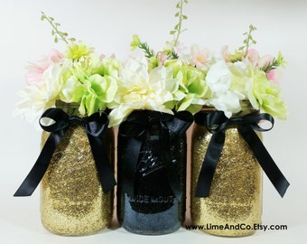 Mason Jar Wedding Centerpieces Black And Gold Birthday Party Decor Graduation Decorations 50th Set Of 3