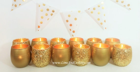 12 Votive Candle Holders Gold Candle Holder Tealight Holder Etsy