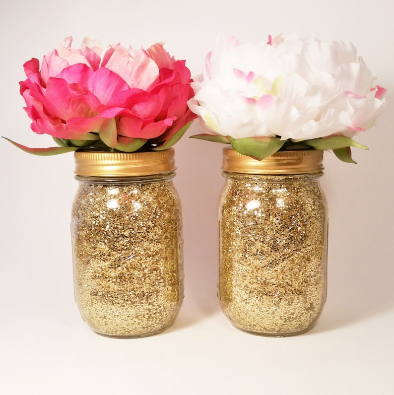 Mason Jar Centerpiece Bridal Shower Decorations Wedding Etsy