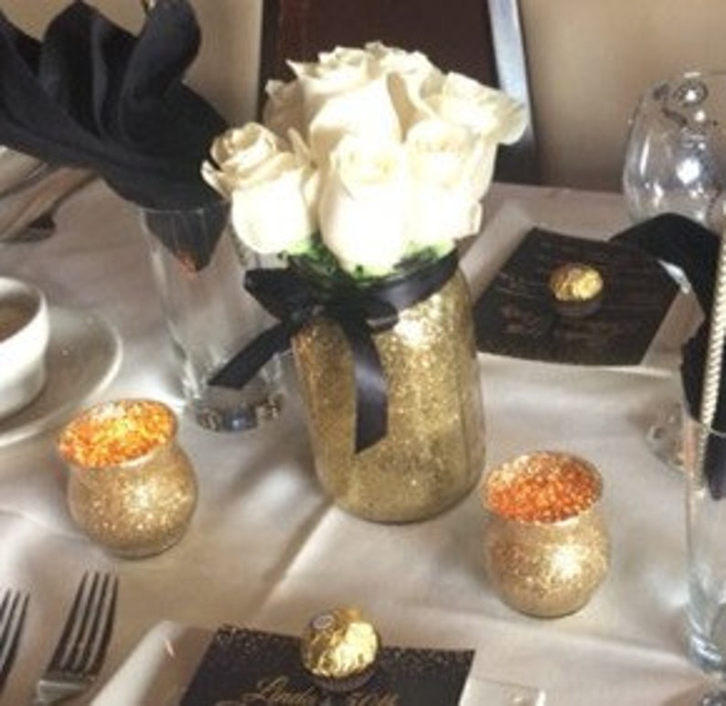 Mason Jar Wedding Centerpieces Black And Gold