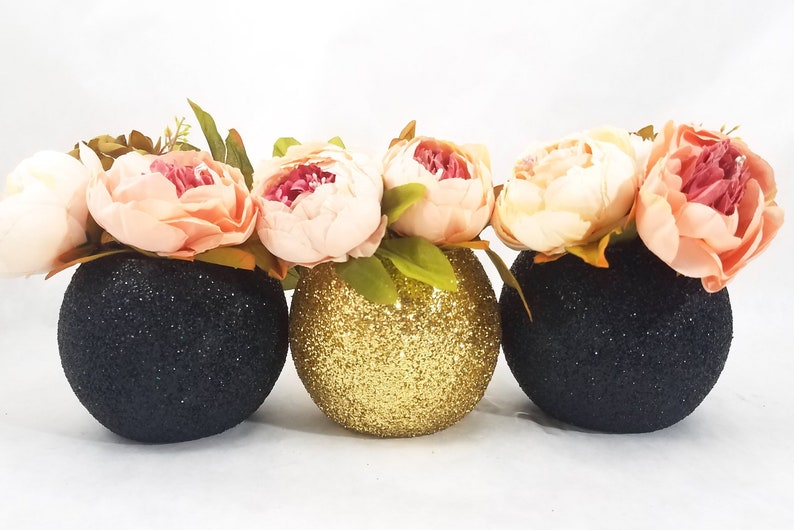 Wedding Decor Wedding Centerpieces Black And Gold Decor Etsy