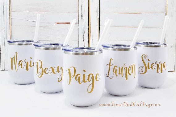 Bachelorette Party Bridesmaid Gift Vinyl Decal Employee Gift Personalized Stainless Steel Tumbler Bridesmaid Proposal Bachelorette Party Cup Water Bottle with Name Personalized Water Bottle