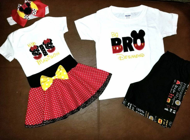 4dc21c3d9e909 Little Sister Big Brother Disney outfits, Matching siblings outfits, Disney  outfits for brother and sister, Minnie inspired baby outfit,